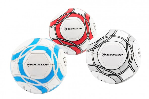 Míč fotbalový Dunlop 22cm kůže vel.5 šitý 3 barvy v sáčku
