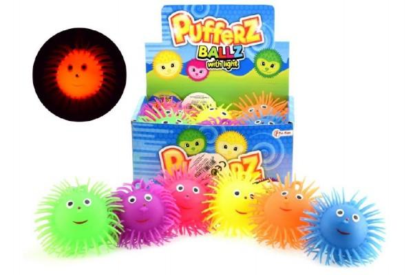 Gumový míček 10cm se světlem na baterie asst 6 barev 12ks v boxu