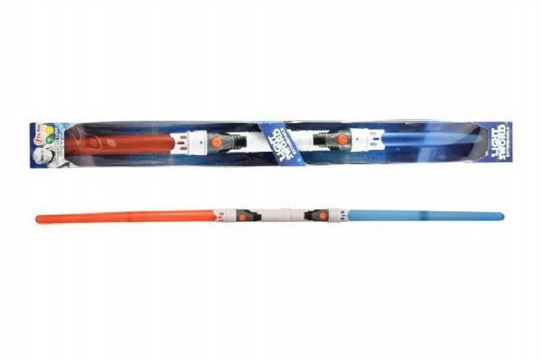 Svítící meč 2v1 plast 89cm rozložitelný vysouvací se světlem se zvukem na baterie v krabici