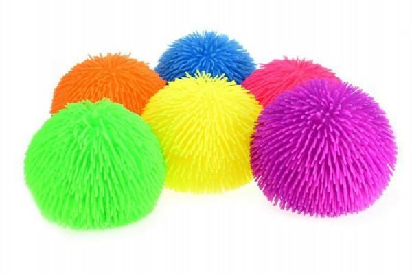 Gumový míč chlupatý průměr 23cm asst 6 barev