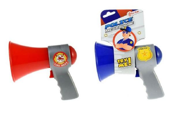 Megafon hasiči/policie plast 14cm na baterie se zvukem - červený