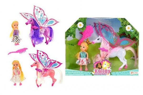 Kůň  27cm s křídly a hřebenem česací + panenka 15cm plast asst 3 barvy v krabici
