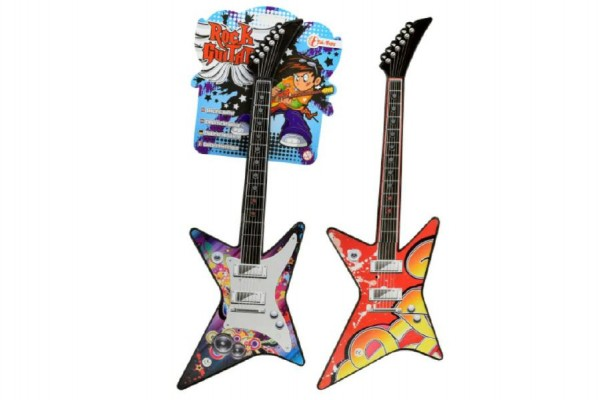 Kytara mini elektrická plast 42cm na baterie se zvukem asst 2 barvy na kartě