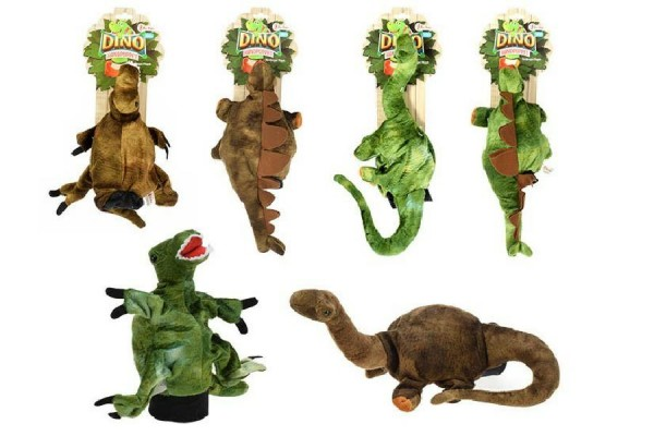 Maňásek dinosaurus 30cm plyš asst 3 druhy 2 barvy na kartě