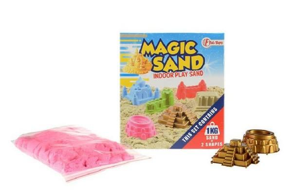 Magický písek 1kg + 2 formičky asst 5 barev v krabici 18x20cm