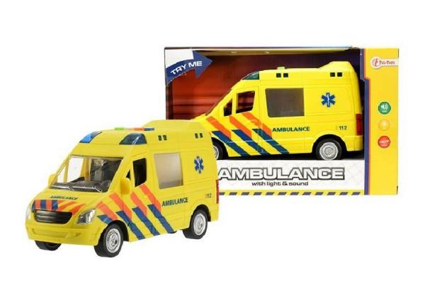 Auto ambulance žlutá plast 22cm na baterie se světlem se zvukem na setrvačník v krabici 27x17x11cm