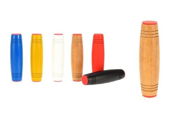 Fidget Tumbler dřevo 9cm antistresový váleček asst 6 barev v krabičce