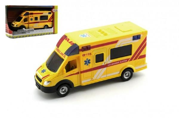 Auto ambulance záchranáři plast 18cm na setrvačník český design v krabičce