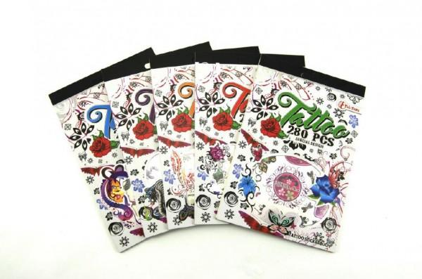 Tetování barevné 280ks v bloku asst 6 druhů 12,5x18,5x0,3cm