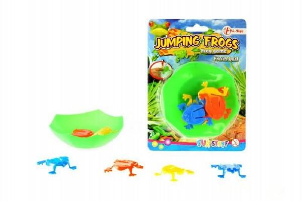 Žáby skákající mini hra plast na kartě 12,5x17cm