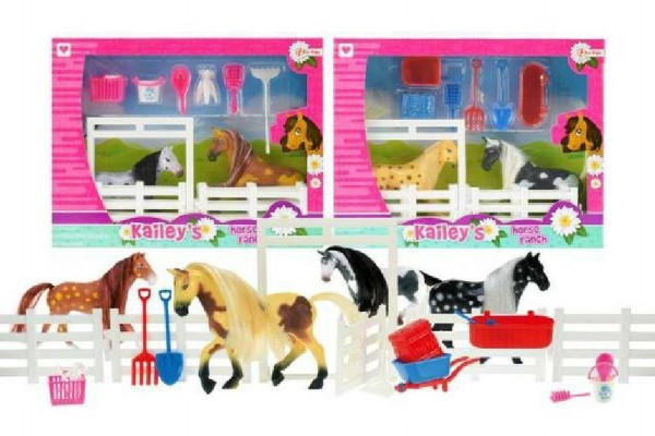 Kůň 11cm 2ks s doplňky + ohrada ranč asst v krabici