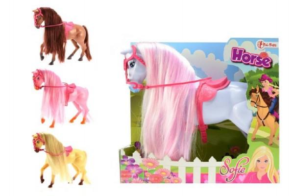 Kůň Sofie s hřívou česací plast 26cm asst 4 barvy v krabici