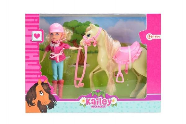 Kůň česací s doplňky + panenka žokejka plast v krabici 26,5x20x7cm