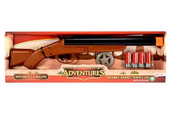 Pistole/Brokovnice kovbojská s náboji plast 47cm na baterie se zvukem v krabici