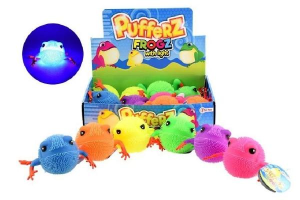Míček žába mačkací chlupatý antistresový svítící silikon 10cm 6 barev 12ks v boxu