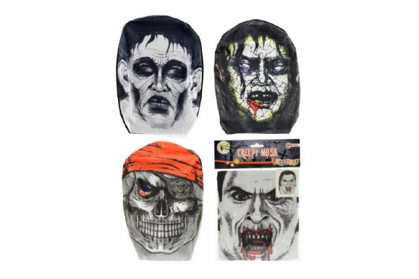 Maska látková asst 4 druhy v sáčku 18x26cm 24ks v boxu karneval