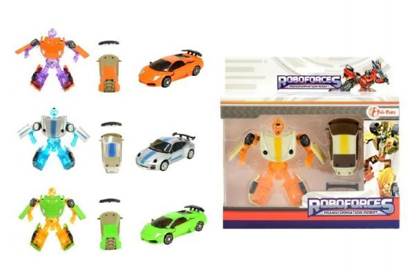 Transformer auto/robot mini plast/kov 8cm asst 4 barvy v krabičce 16x16x4cm