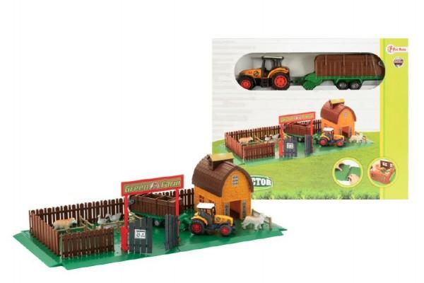 Farma s traktorem domeček plast v krabici 26x22cm