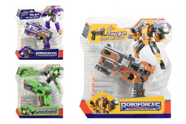 Transformer robot/pistole na pěnové náboje plast 18cm asst 3 barvy na kartě