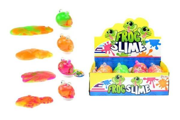 Sliz - hmota žába 130g 8cm asst 4 barvy v plastové dóze 12ks v boxu