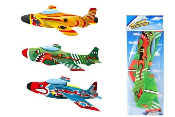 Letadlo házecí pěna/plast asst 3 barvy na kartě 19x53cm