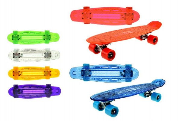 Skateboard pennyboard se světlem 55cm nosnost 50kg asst 6 barev