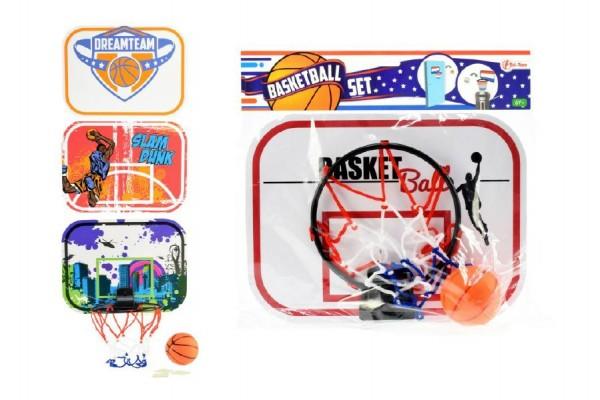 Koš na basketbal na přilepení na zeď + míček plast 29cm asst 4 barvy v sáčku
