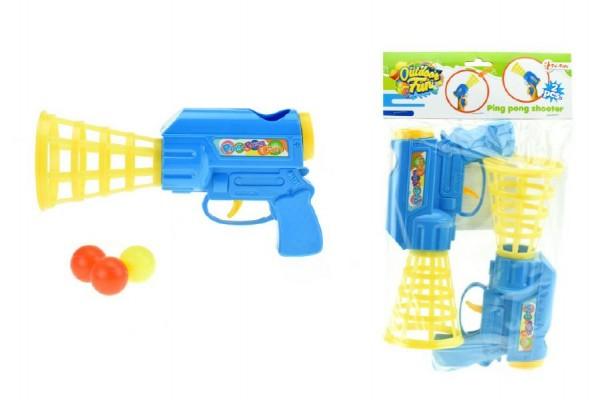 Catch ball pistole na pingpongové míčky 2ks plast 24cm v sáčku