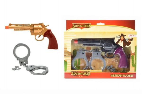 Pistole kovbojská + pouta plast 20cm asst 2 barvy v krabičce