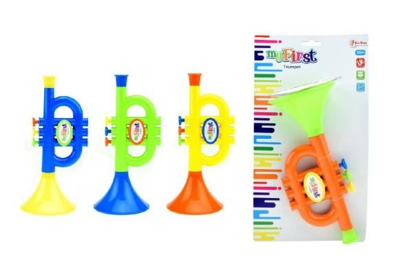 Trumpeta plast 23cm asst 4 barvy na kartě 18m+