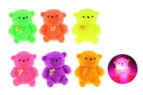 Míček gumový chlupatý medvídek antistresový svítící plast 7cm asst 6 barev 12ks v boxu