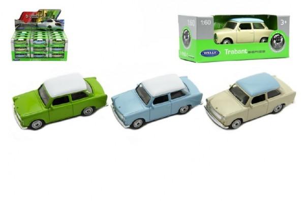 Auto Welly Trabant 1:60 kov 7cm asst mix barev volný chod v krabičce 36ks v boxu