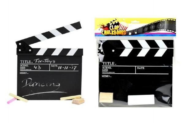 Filmová klapka s křídami dřevo v sáčku 26x28cm