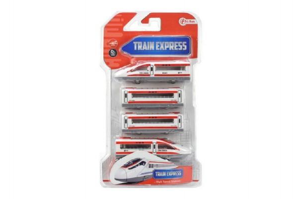 Vlak s vagóny na magnety 4ks 48cm plast na zpětný chod asst 2 barvy na kartě