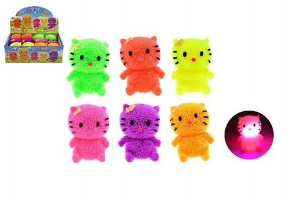 Míček gumový chlupatý kočka antistresový svítící plast 7cm asst 6 barev 12ks v boxu