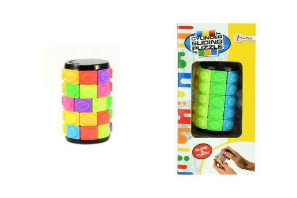 Hlavolam váleček barevný plast 6cm v krabičce 7x14x5,5cm