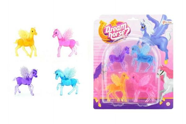 Kůň s křídly plast 6cm 4ks na kartě
