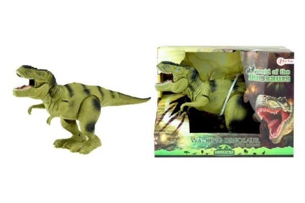 Dinosaurus chodící plast 22cm na baterie asst 2 barvy v krabici