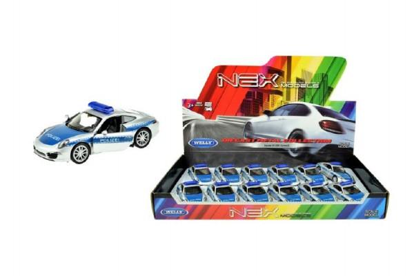 Auto Welly policie Porsche 911(991) Carrera S kov/plast 12cm volný chod 12ks v boxu