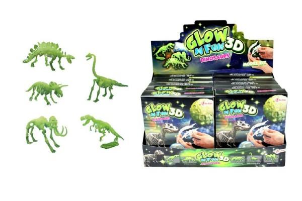 Dinosaurus svítící skládačka 3D plast asst mix druhů v krabičce 10ks v boxu