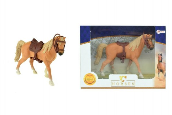 Kůň se sedlem plast 14cm v krabičce 19x14x5cm