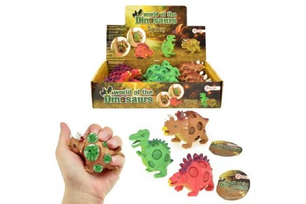Sliz dinosaurus mačkací antistresový 9cm 3 druhy 12ks v boxu