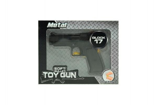 Pistole na měkké kuličky plast 11cm v krabici