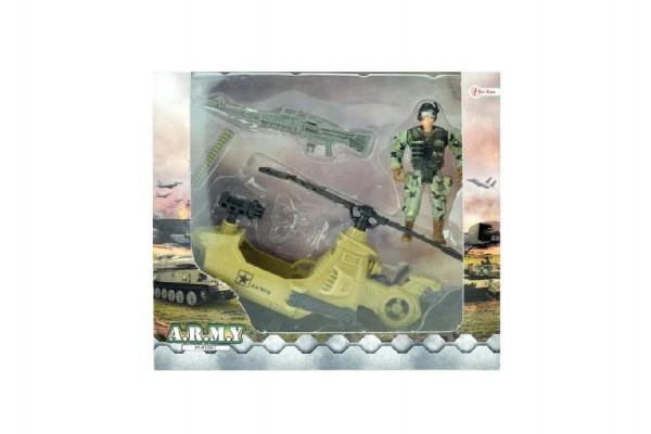 Vojenská sada helikoptéra/vrtulník+voják s doplňky plast v krabici 23x20x7cm
