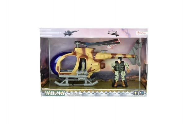Vrtulník vojenský + voják sada plast na baterie se zvukem se světlem v krabici 30x20x12cm