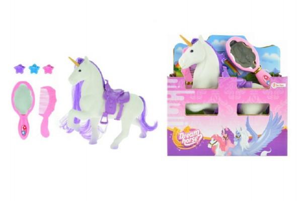 Jednorožec kůň česací s doplňky fliška 16cm v krabici 16x17x6cm