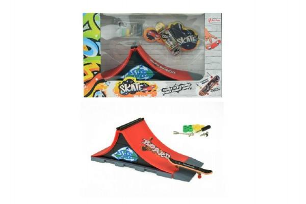 Skateboard prstový šroubovací s rampou plast v krabici 28x18x11cm