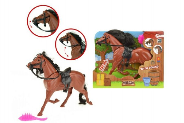 Kůň hnědý česací s hřebenem plast  na baterie se zvukem v krabičce 25x20x6cm