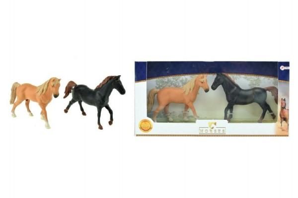 Koně 2ks plast 13cm v krabici 31x16x5cm