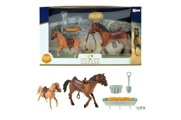 Koně 2 ks s doplňky plast v krabici 40x24x6cm